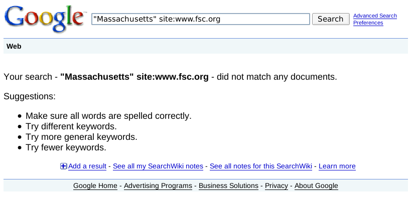 google search for Massachusetts on fsc.org